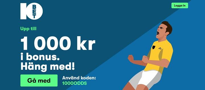 10Bet oddsbonus upp till 1000 kr