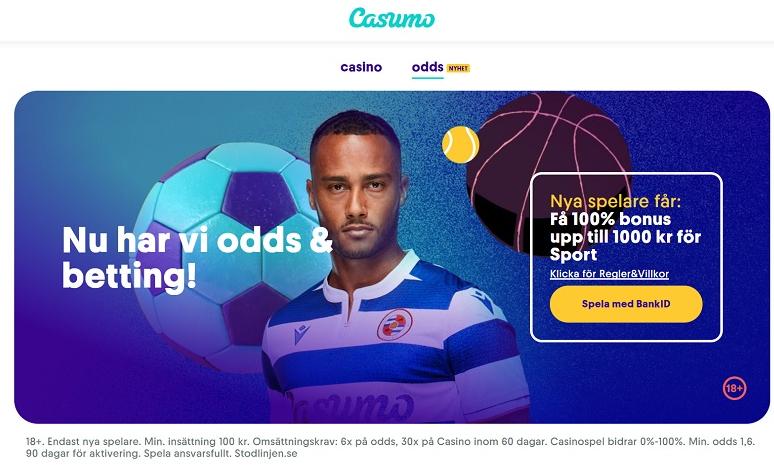 Casumo bettingsida med 100% upp till kr oddsbonus